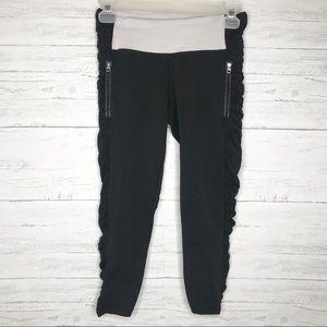 Black White Mesh Ruched Crop Zipper Leggings